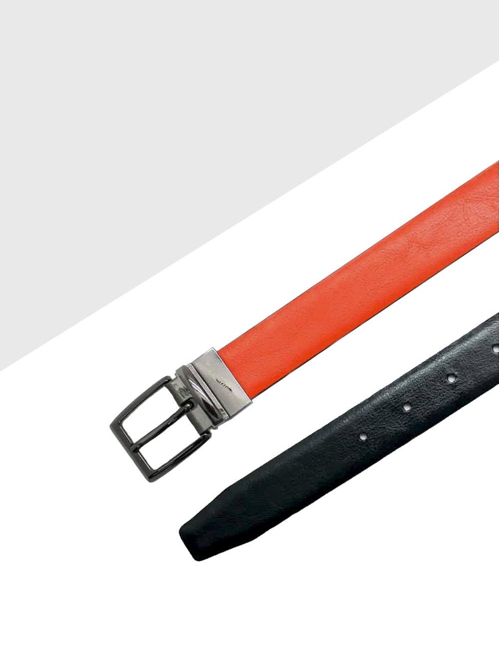 Orange / Navy Reversible Leather Belt LBR13.5
