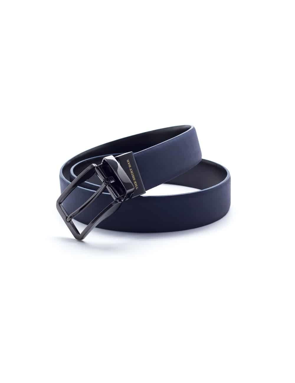 Black / Navy Reversible Leather Belt LBR13.6
