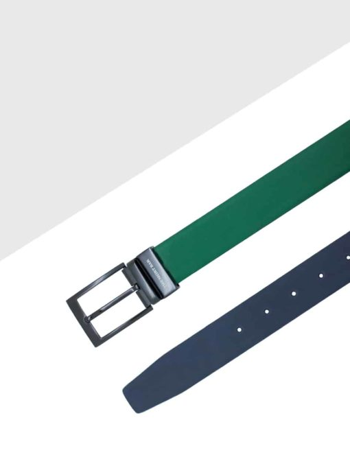 Green / Blue Reversible Leather Belt LBR17.6