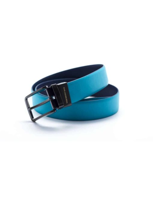 Turquoise / Navy Reversible Leather Belt LBR19.6