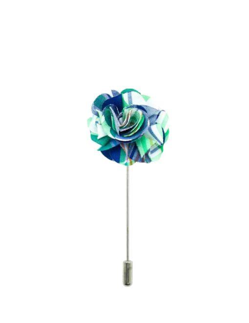 Green Checks Floral Lapel Pin LP102.8