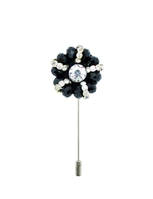 Black & White Beaded Floral Lapel Pin LP124.8