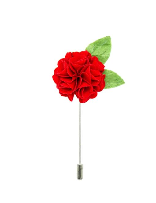 Red Floral Green Leaf Lapel Pin LP130.8