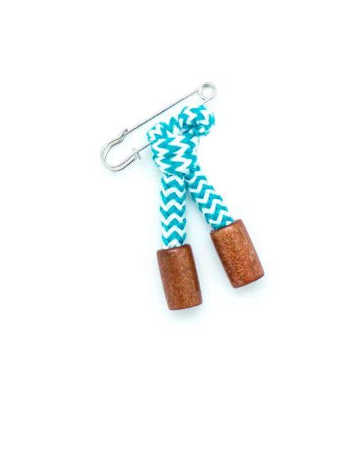 Turquoise Stripes Lapel Pin LP145.8