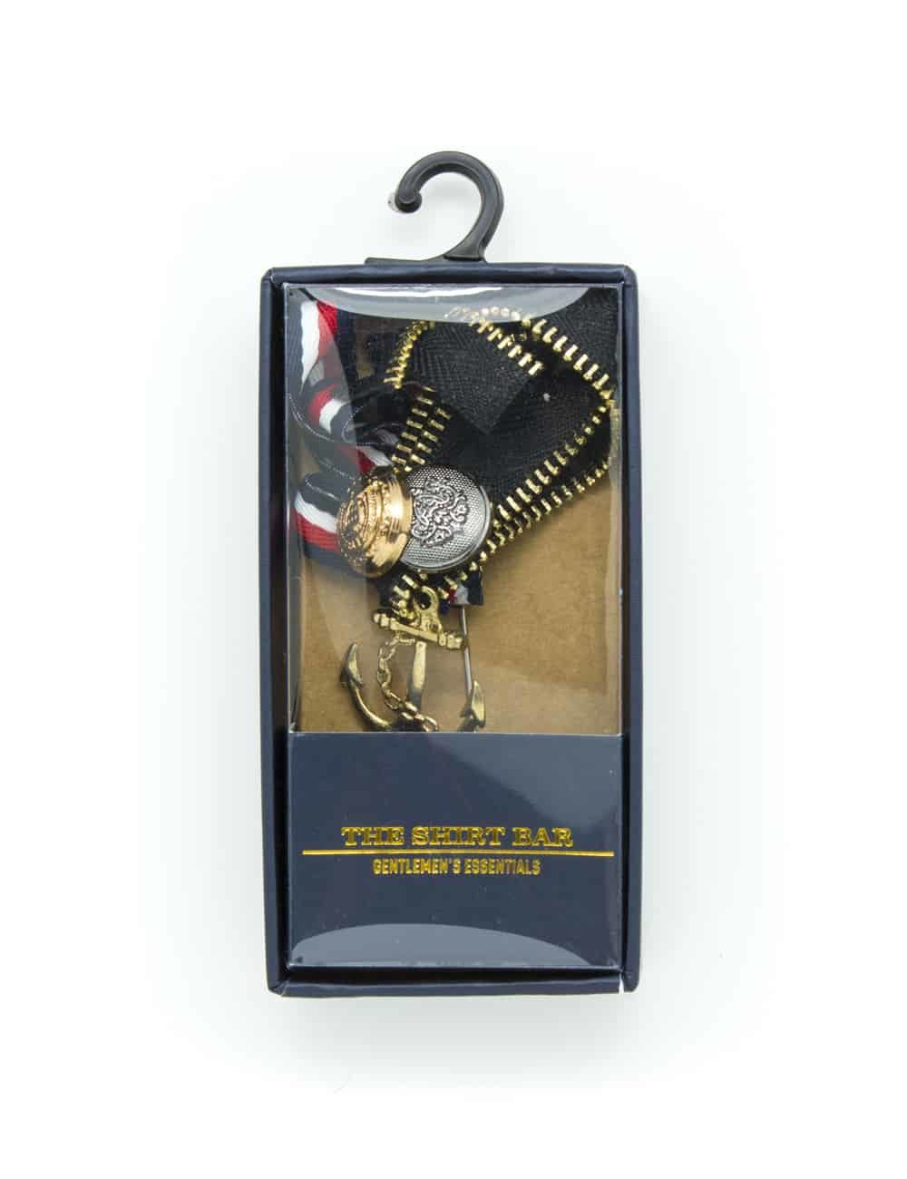 Black Zip with Gold Anchor Lapel Pin LP18.6