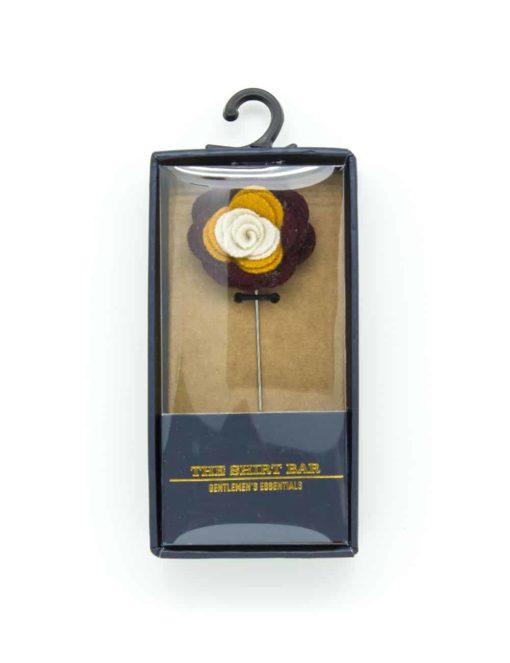 Maroon/ Yellow/ Cream Floral Lapel Pin LP86.8