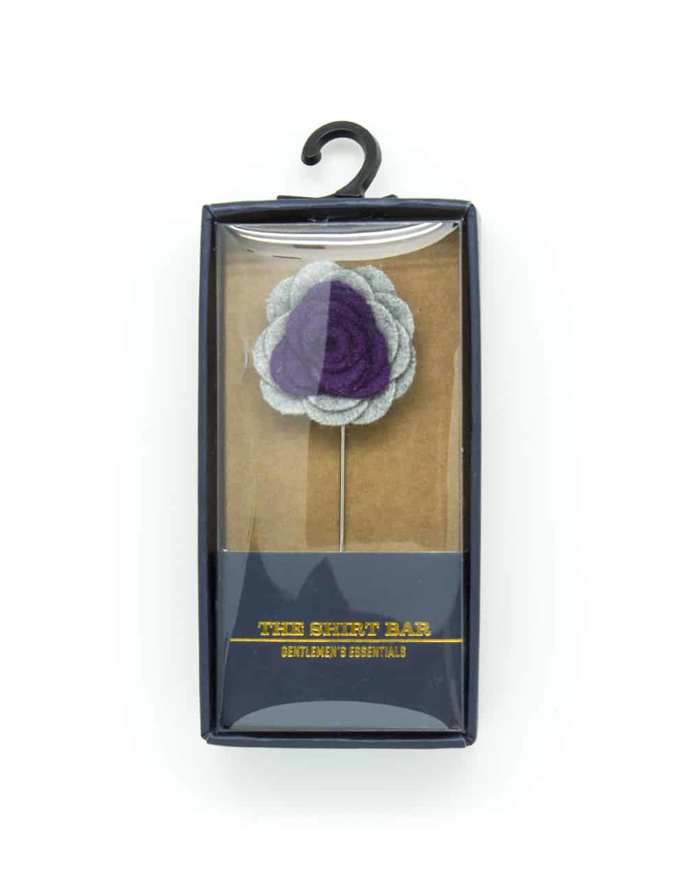 Grey & Purple Felt Floral Lapel Pin LP93.8