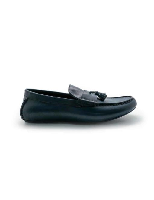 Navy Leather Tassel Loafers F11D5.1
