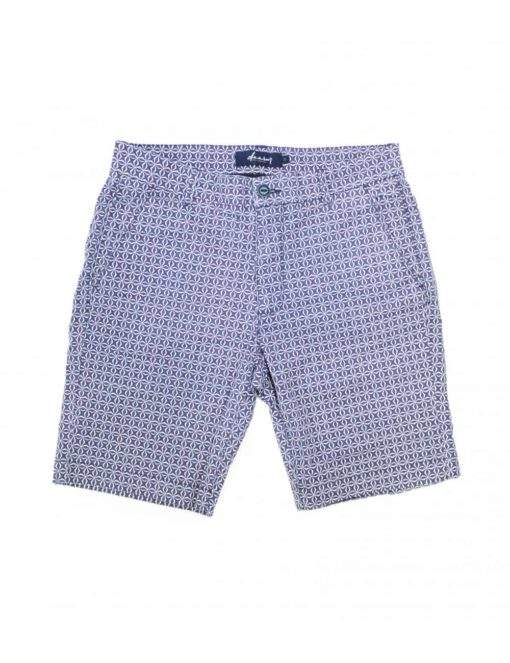 Navy Pattern Printed Chino Shorts SA11.1