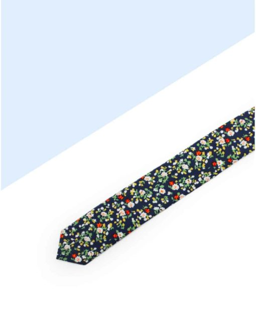 Navy with Orange Floral Woven Necktie NT85.7