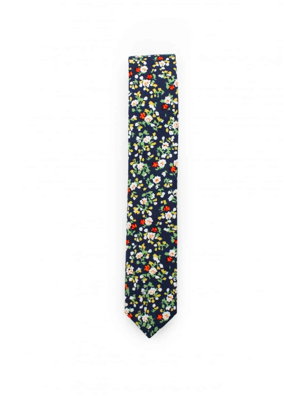 Navy with Orange Floral Woven Necktie NT85.7