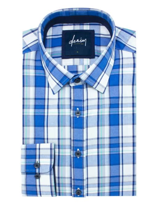 RF Blue Checks Denim Collection 100% Cotton Long Sleeve Single Cuff Shirt RF2BA10.7