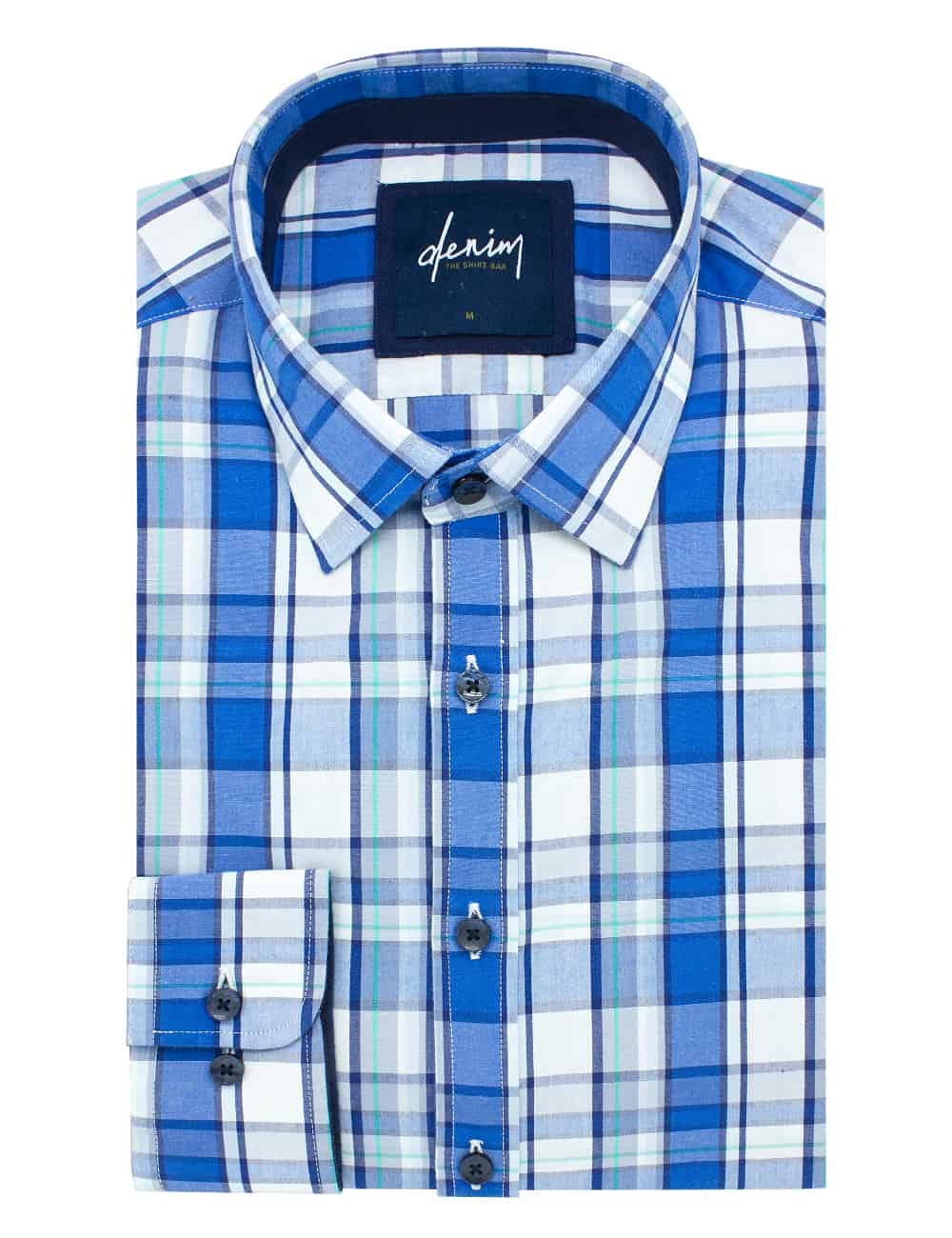 Blue Checks Custom / Relaxed Fit Long Sleeve Shirt - RF2BA10.7