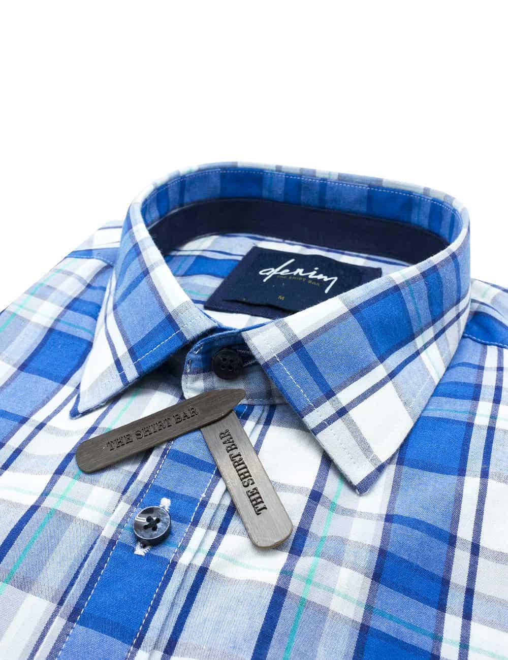 Relaxed Fit Blue Checks Denim Collection 100% Cotton Long Sleeve Single Cuff Shirt RF2BA10.7