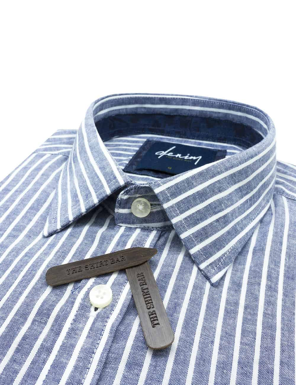 Relaxed Fit Navy with White Stripes Denim Collection 100% Cotton Long Sleeve Single Cuff Shirt RF2BA17.7