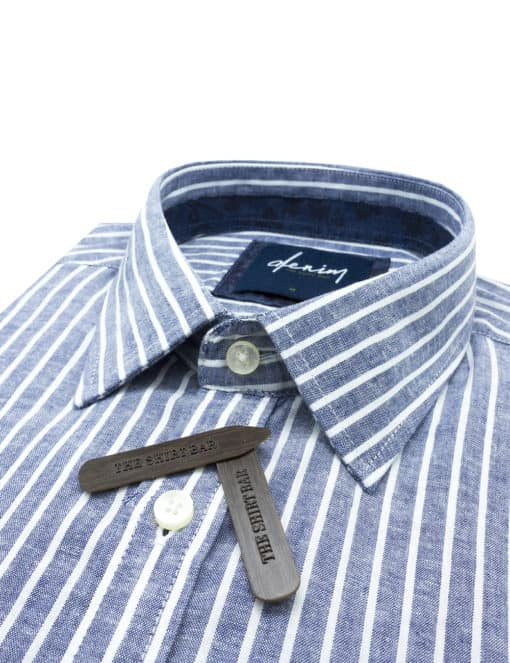RF Navy with White Stripes Denim Collection 100% Cotton Long Sleeve Single Cuff Shirt RF2BA17.7