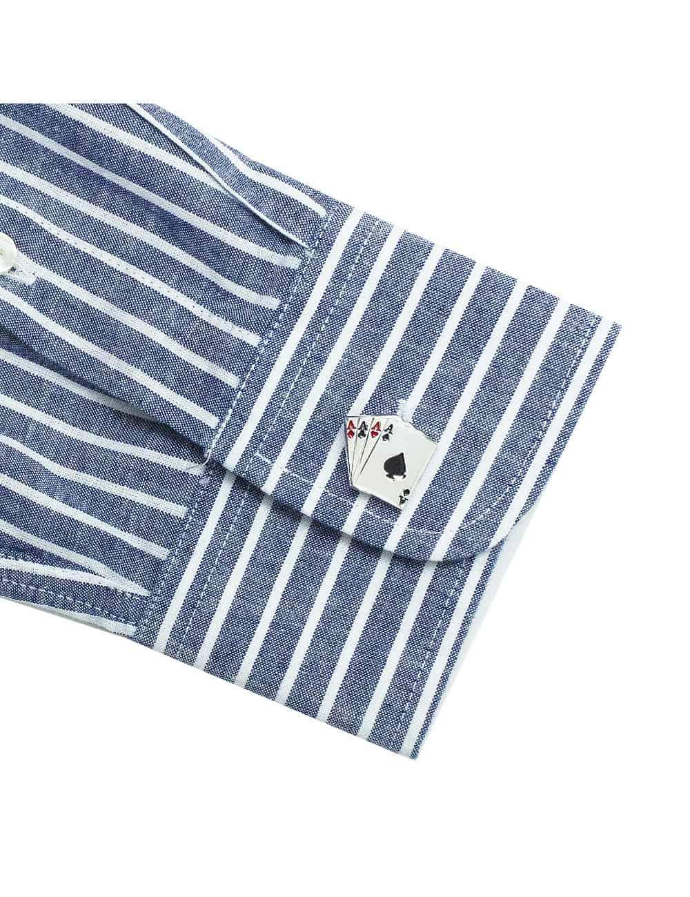 RF Navy with White Stripes Denim Collection 100% Cotton Long Sleeve Single Cuff Shirt RF2BA17.7