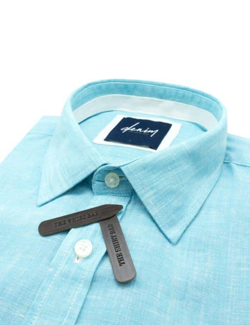 RF Solid Green Linen Denim Collection 100% Cotton Long Sleeve Single Cuff Shirt RF2BA18.7