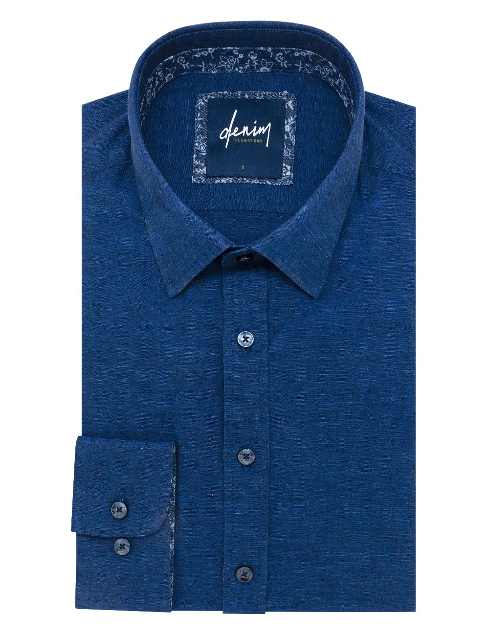 Solid Navy Easy Iron Custom / Relaxed Fit Long Sleeve Shirt – RF2BA3.7