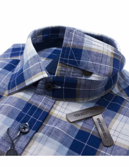 RF Blue Checks Easy Care 100% Cotton Long Sleeve Single Cuff Shirt RF2BA4.7