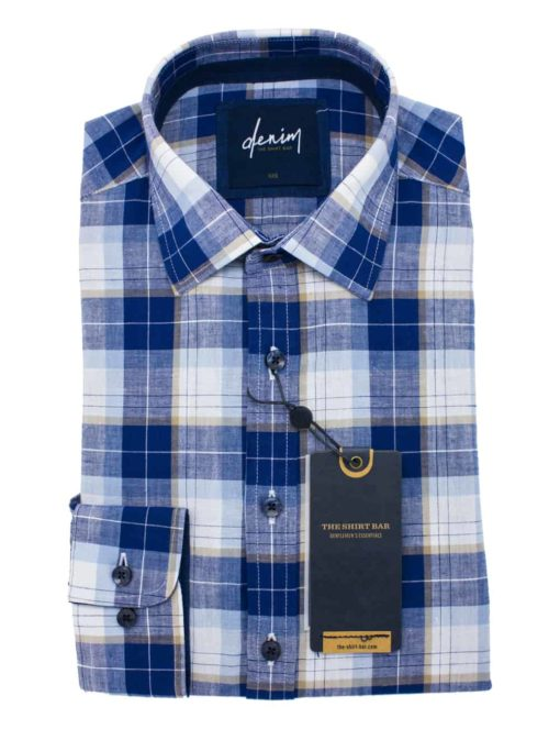 Relaxed Fit Blue Checks Easy Care 100% Cotton Long Sleeve Single Cuff Shirt RF2BA4.7