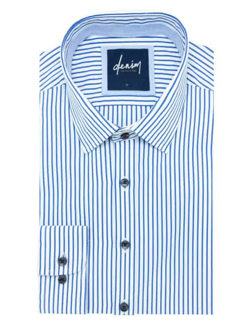 RF White with Blue Stripes Denim Collection 100% Cotton Long Sleeve Single Cuff Shirt RF2BA5.7