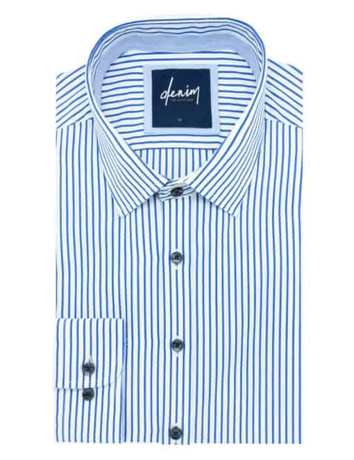 RF White with Blue Stripes Denim Collection 100% Cotton Long Sleeve Single Cuff Shirt RF2BA5.7