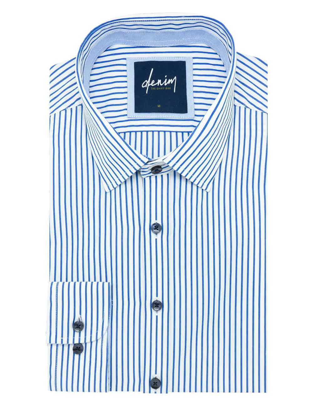 White with Blue Stripes Custom / Relaxed Fit Long Sleeve Shirt - RF2BA5.7