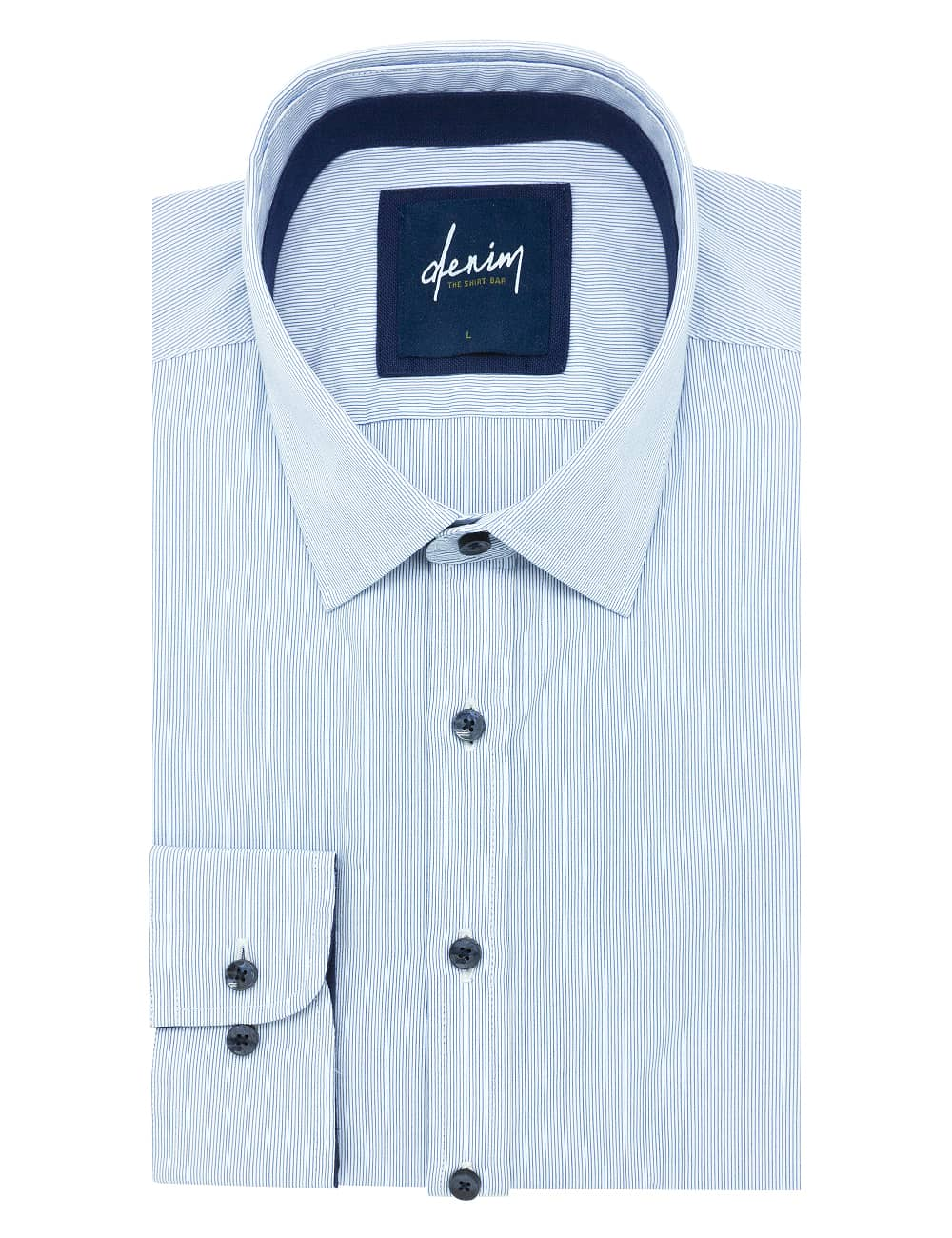 Relaxed Fit White with Blue Micro Stripes Denim Collection 100% Cotton Long Sleeve Single Cuff Shirt RF2BA6.7