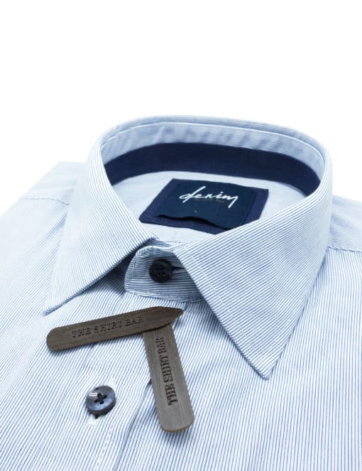 RF White with Blue Micro Stripes Denim Collection 100% Cotton Long Sleeve Single Cuff Shirt RF2BA6.7