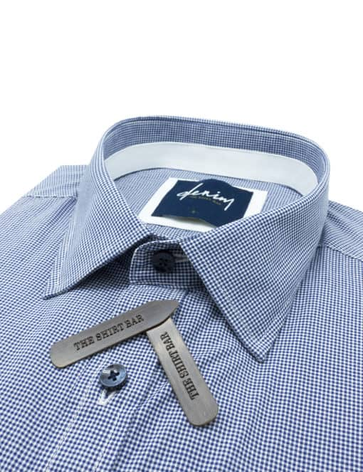 RF Navy Micro Checks Denim Collection 100% Cotton Long Sleeve Single Cuff Shirt RF2BA7.7