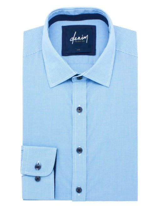 RF Blue Micro Checks 100% Cotton Long Sleeve Shirt RF2BA8.7