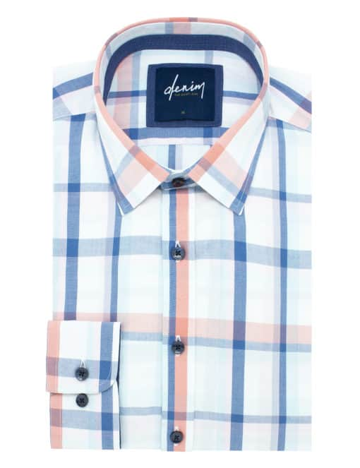 Relaxed Fit White/ Navy/ Orange Checks Denim Collection 100% Cotton Long Sleeve Single Cuff Shirt RF2BA9.7