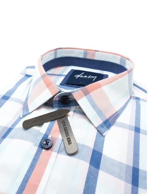 RF White/ Navy/ Orange Checks Denim Collection 100% Cotton Long Sleeve Single Cuff Shirt RF2BA9.7