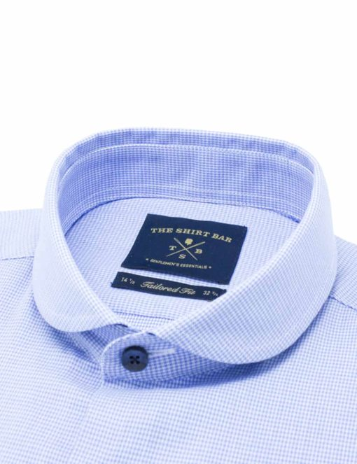 Tailored Fit Sky Blue Checks 100% Cotton Long Sleeve Shirt TF12B2.9