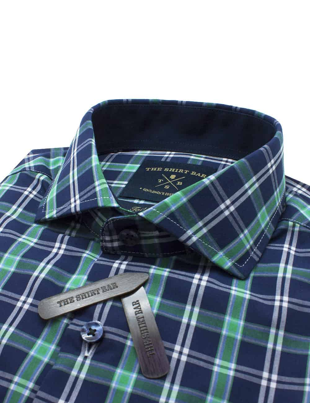 Tailored Fit Navy & Green Checks Eco-ol Bamboo Blend Wrinkle Free Long Sleeve Single Cuff Shirt TF1C7.7