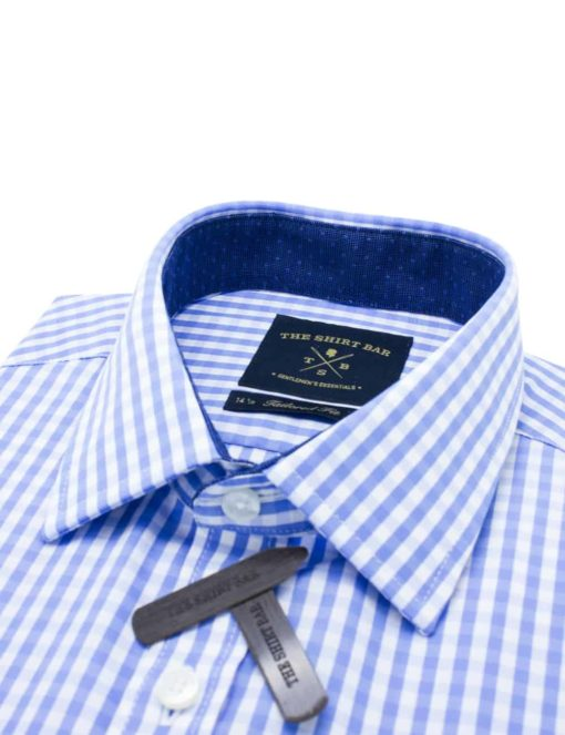 Tailored Fit Blue and White Checks 100% Cotton Long Sleeve Shirt TF2A2.9