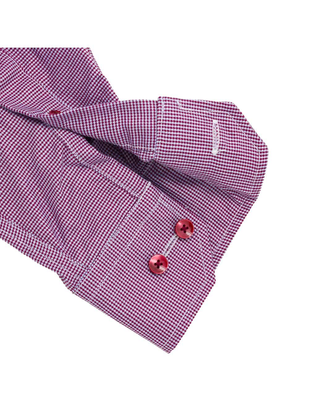 Tailored Fit Red Houndstooth Wrinkle Free 100% Cotton Long Sleeve Shirt TF2A5.7