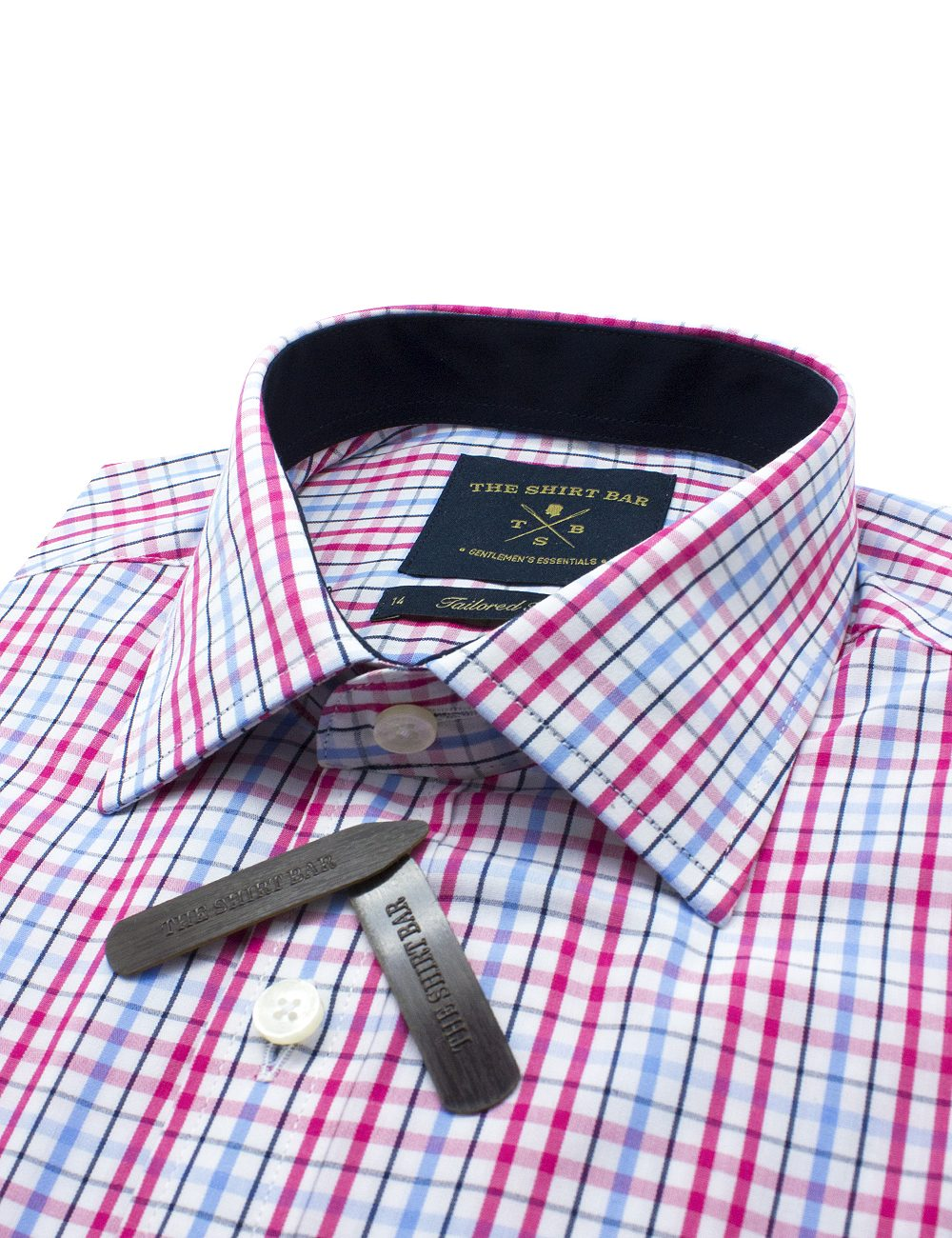 Pink Checks Eco-ol Bamboo Slim / Tailored Fit Long Sleeve Shirt - TF2A7.7