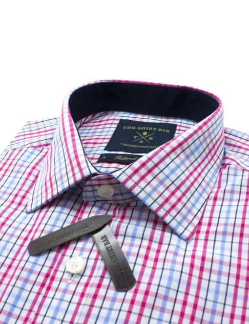 TF Pink Checks Eco-ol Bamboo Blend Wrinkle Free Long Sleeve Single Cuff Shirt TF2A7.7
