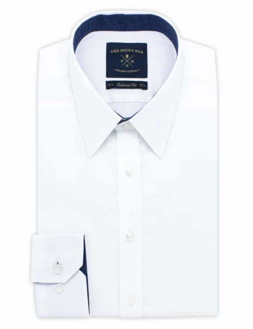 TF Solid White Weave 100% Cotton Long Sleeve Shirt TF33A4.7