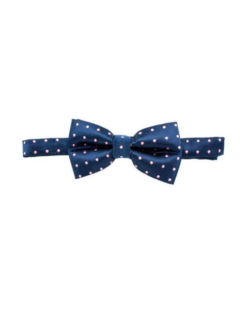 Navy with Pink Polka Dots Woven Bowtie WBT4.6
