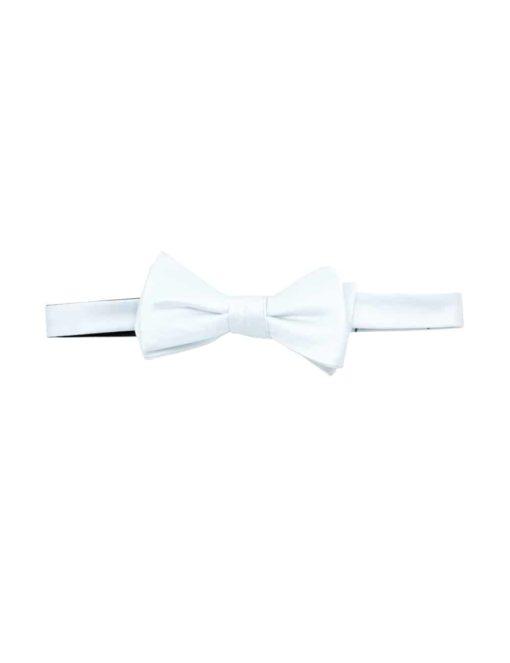 Solid White Woven Self Tie Bowtie WSTBT1.6