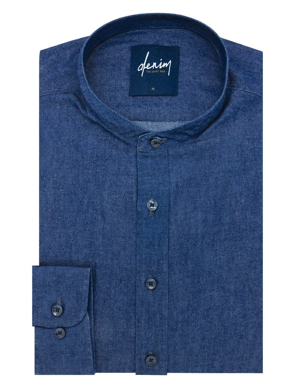 RF Blue Denim Mandarin Collar 100% Cotton Long Sleeve Single Cuff Shirt RF11B1.7