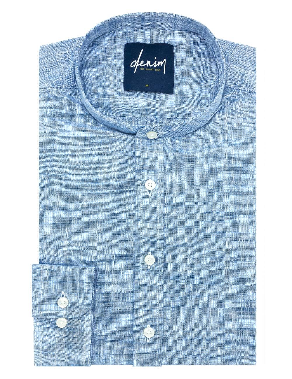 RF Solid Blue Mandarin Collar Denim Collection 100% Cotton Long Sleeve Single Cuff Shirt RF11B2.7