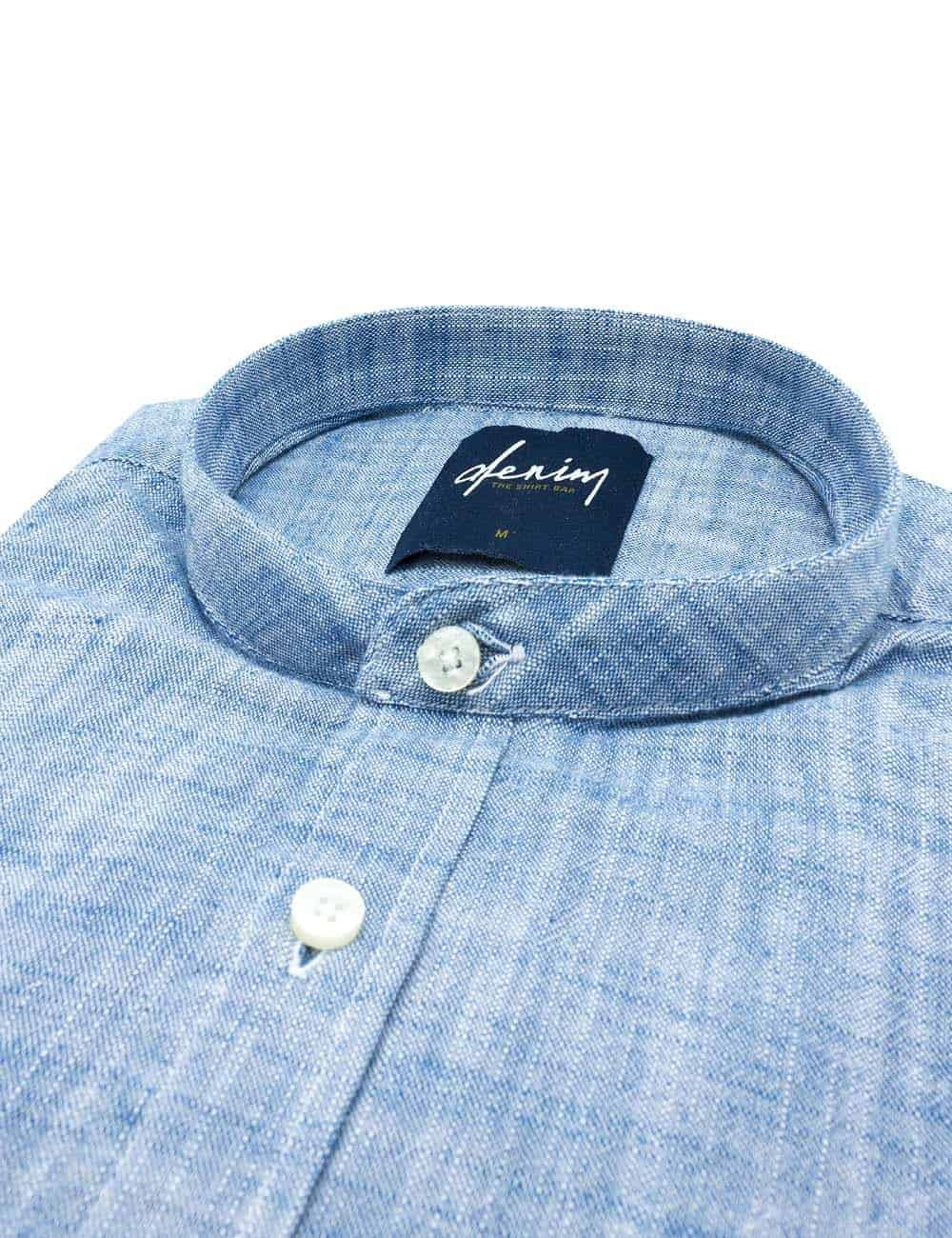 RF Solid Blue Mandarin Collar Denim Collection 100% Cotton Long Sleeve Single Cuff Shirt RF11B2.7