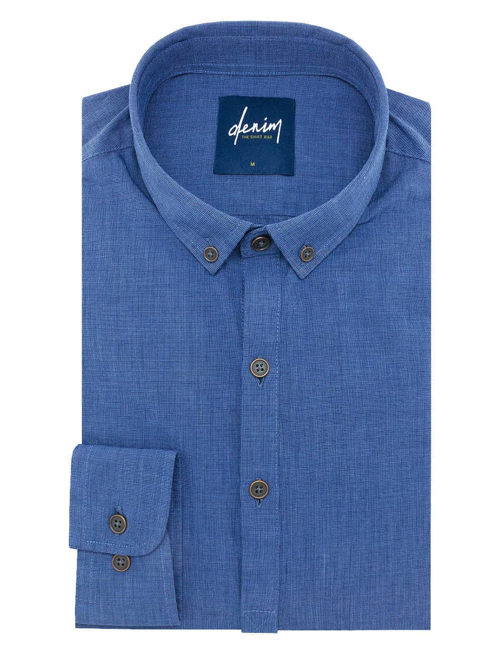 Relaxed Fit Solid Navy Fil A Fil Button Down Denim Collection 100% Cotton Long Sleeve Single Cuff Shirt RF6BA1.7