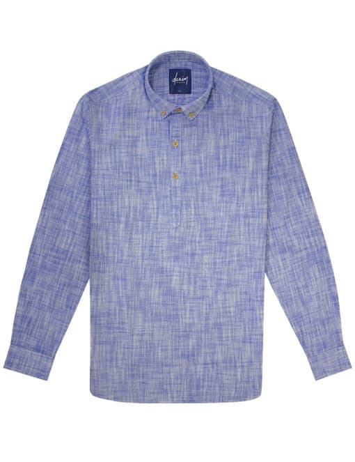 Relaxed Fit Blue Button Down 100% Cotton Long Sleeve Shirt RF6BA2.7