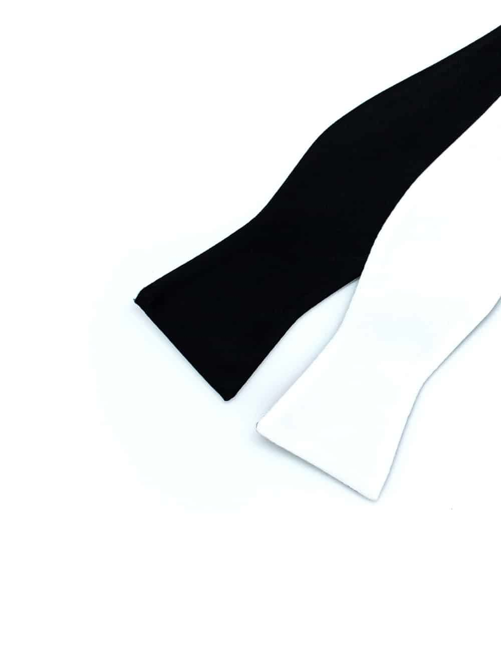 Solid Black and White Reversible Woven Self Tie Bowtie WRSTBT1.6