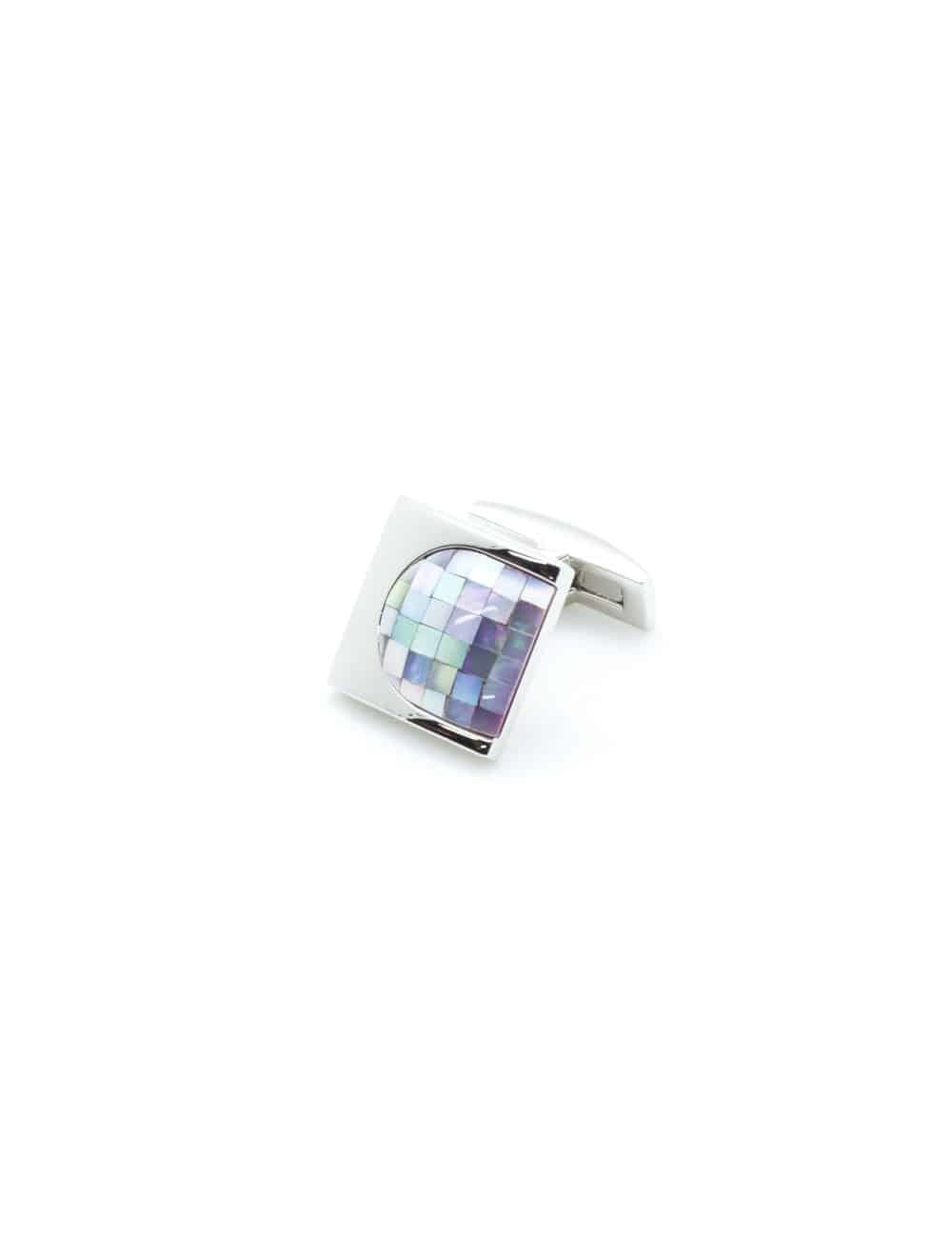 Chrome silver thumbnail cufflink with light purple mother of pearl C131FP-036a